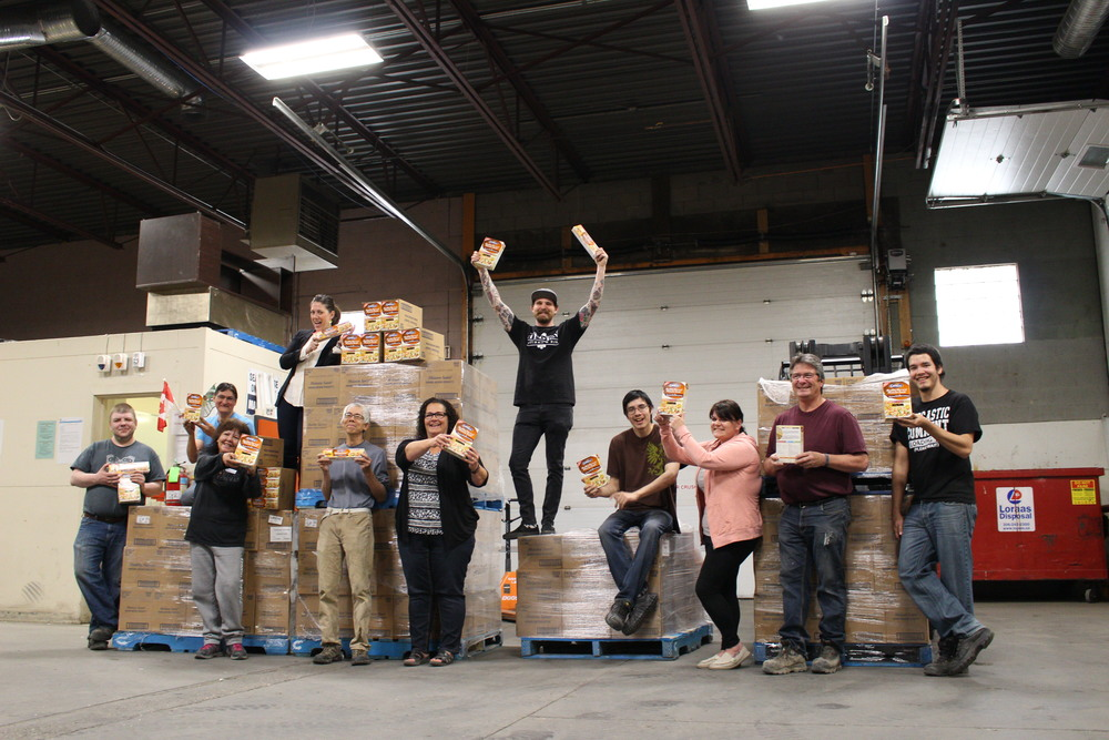 Dale MacKay with SFBLC staff and volunteers after delivering almost 6,000 lbs of Catelli Pasta this past spring.  Part of a national campaign that Dale contributed his time and skills to.