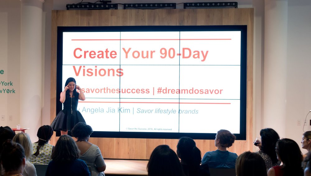Savor Founder ANGELA JIA KIM TEACHES A workshop IN NYC.