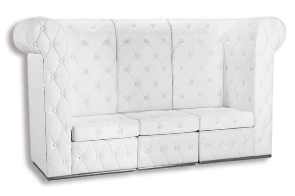 White High Back Tufted Sofa