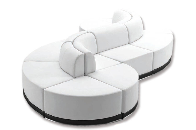 white s shaped sofa