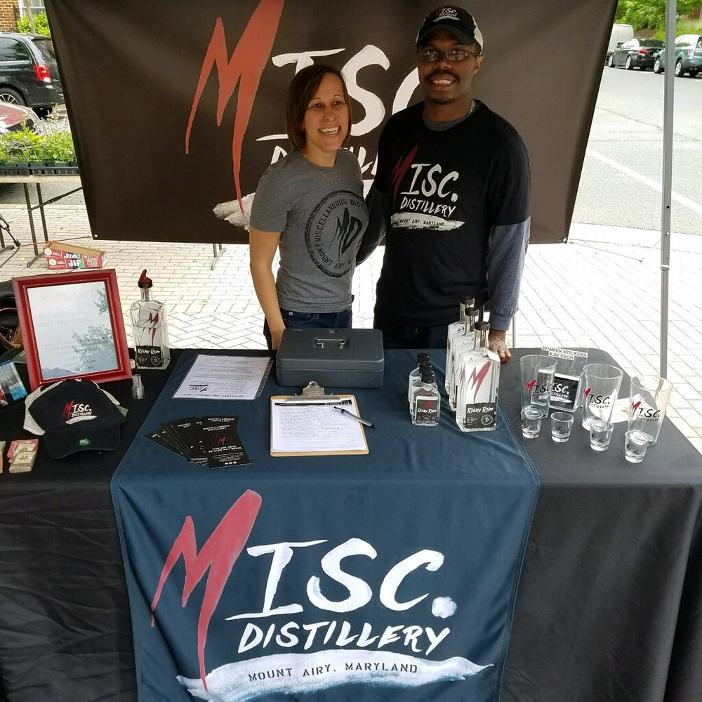 Ben and Elizabeth spreading the word about MISCellaneous Distillery at the Kentlands Farmers Market in Gaithersburg!