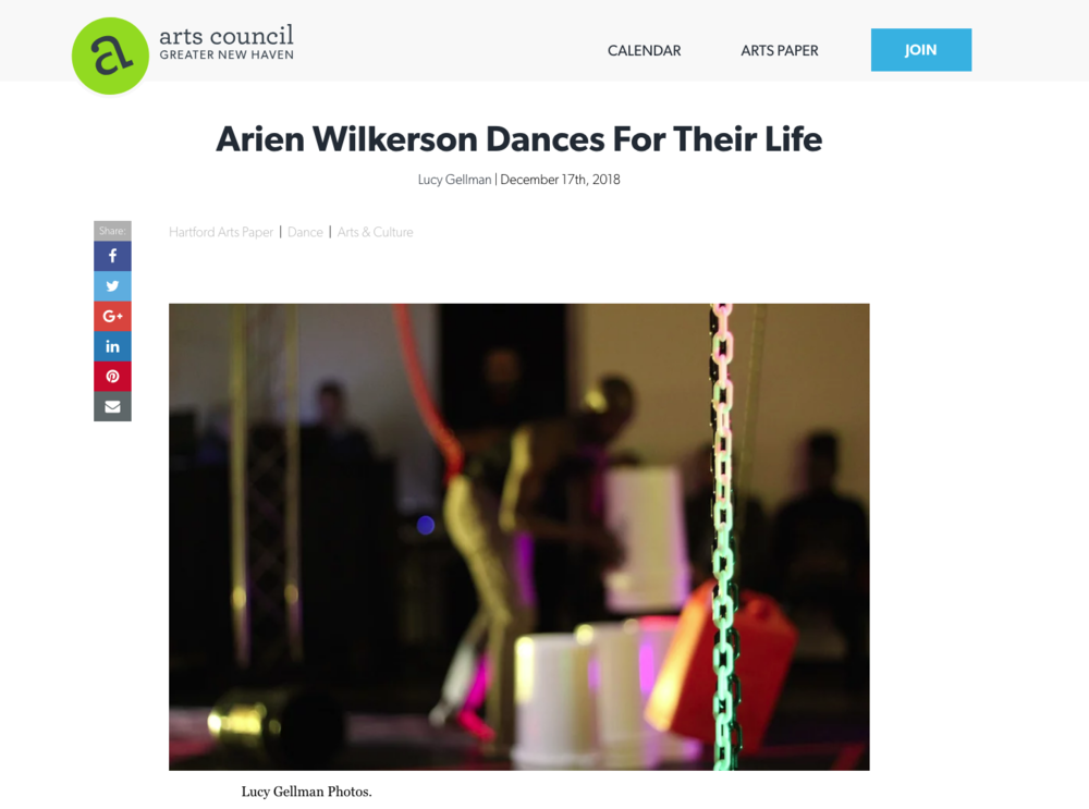 EQUATORS Hartford Review  - Arien Wilkerson Dances For Their LifeLucy Gellman | December 17th, 2018Hartford Arts Paper | Dance | Arts & Culture