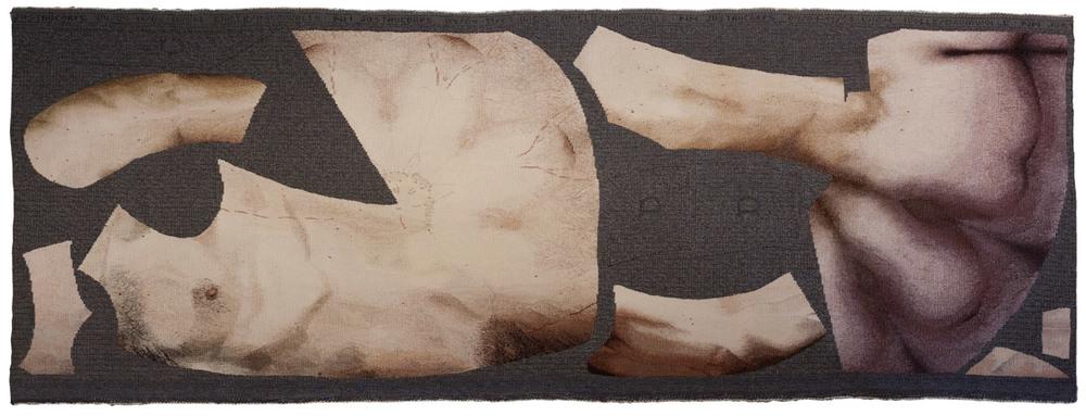 Nicole Miltner  justaucorps_04/04- 11/05 , wool-cotton weave, 215,5 x 80 cm, 2004-2005 © Klemens Kohlweis