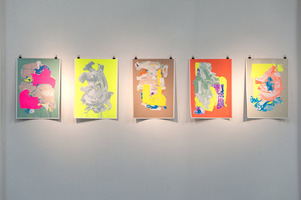 Screenpainting , acrylic colors on paper, 50 x 70 cm each, 2016 Photo: Claudia Corrent