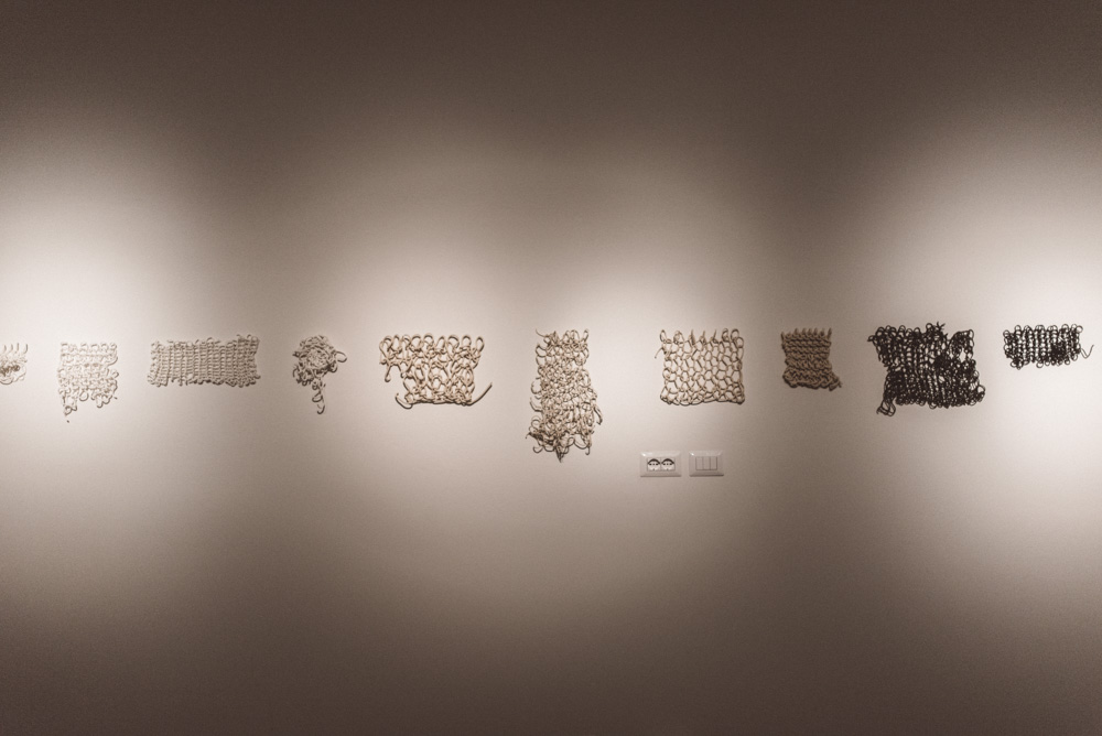 Disrupted systems , knitted porcelain, knitted black porcelain, earthenware, 2011. Photo: Agnese Morganti