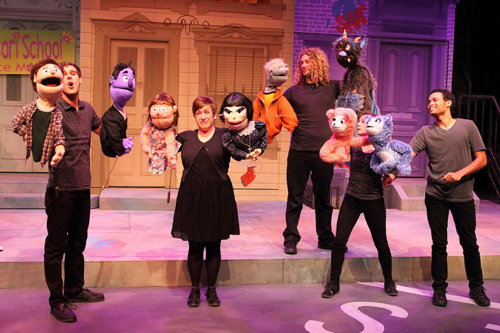 L to R: James Oblak as Princeton & Rod; Katie Pees as Kate Monster & Lucy; Brett Travis as Nicky & Trekkie Monster; Annie Kalahurka & Andrew Ian Adams w/ The Bad Idea Bears. Credit: Scott J. Kimmins.
