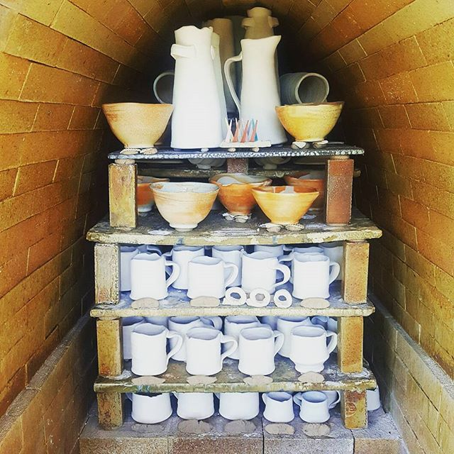 Loaded up and ready to fire up our little wood/soda kiln tomorrow! Plan to knock cone 12 down in 18 hrs or so.  #woodfiredpottery #studiopottery