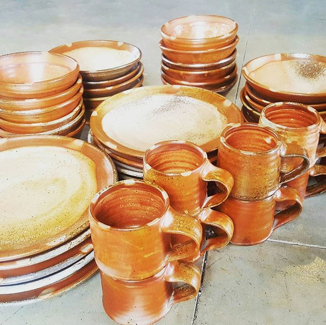 """This was a special firing for me. I had the opportunity to make a dinnerware set for Dan at Conder Sawmill as repayment for cutting all of the ash lumber for our timber frame studio build. I remember Dan saying """"wait until you get your kiln figured out before you fire my pots!"""" All of these pots were fired using scraps from Dan's sawmill.  #grateful #woodfiredpottery  #studiopottery"""