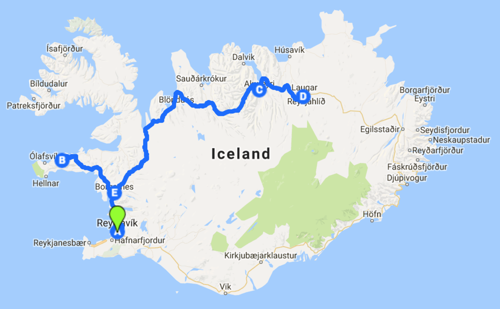 General map of my solo roadtrip (not including the south coast, which I visited but did not drive).