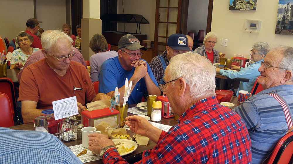 Enjoying a meal at Table Rock Senior Center