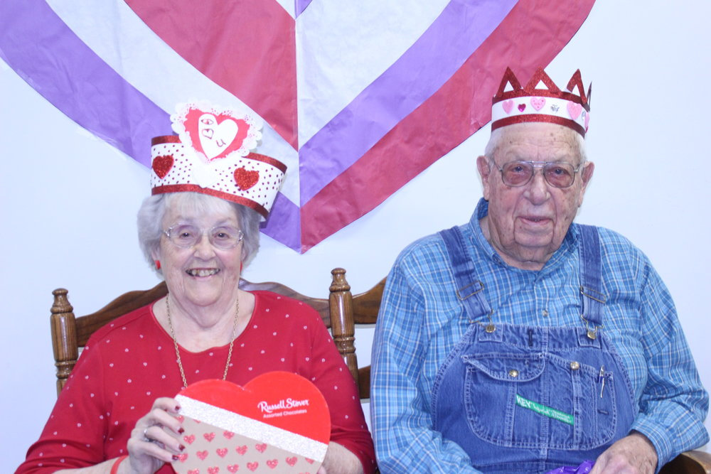 Palmyra Sr Center's Valentine's Day Queen Wilma and King Joy.