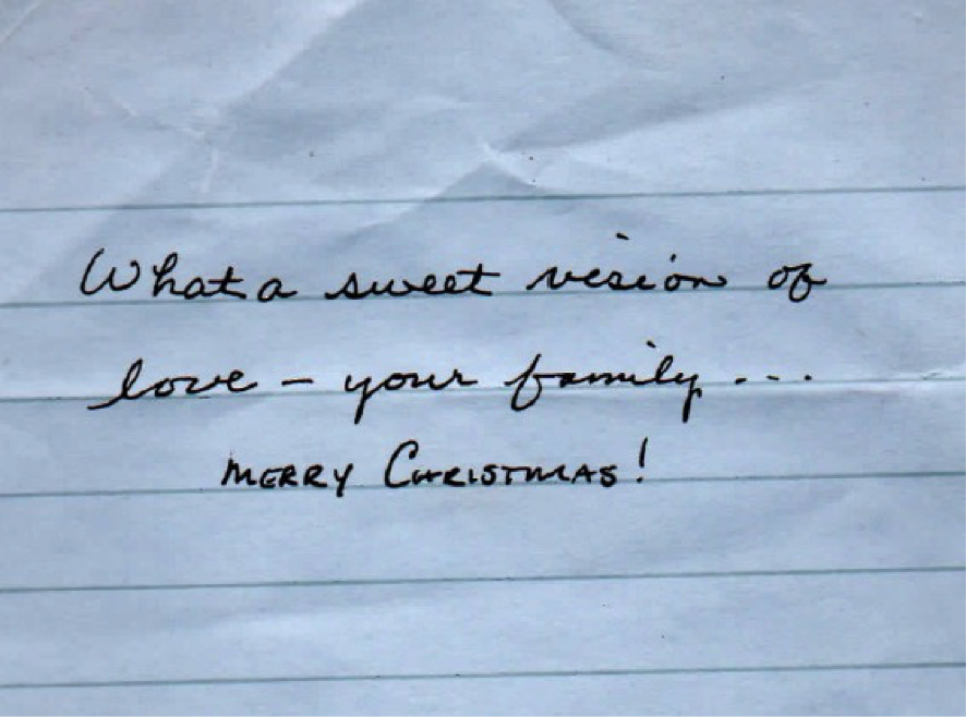 """What a sweet version of love - your family...Merry Christmas!"""