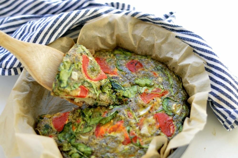 Paleo Pesto & Roasted Red Pepper Frittata