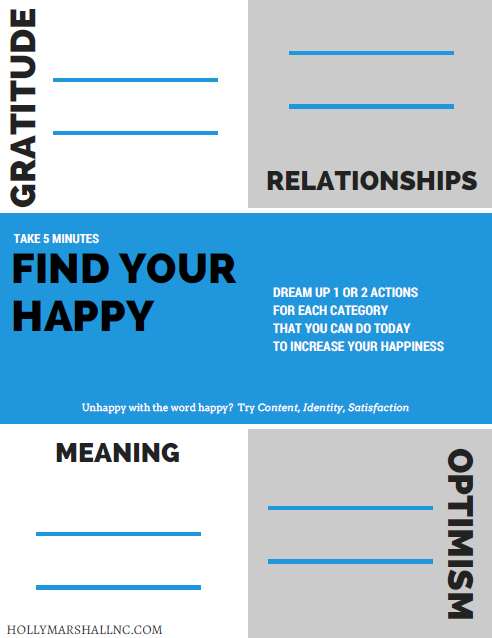 Download Find Your Happy Worksheet!