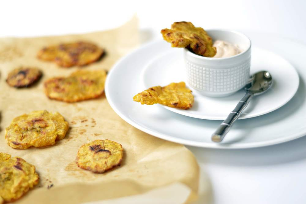 Twice-Baked Tostones with Garlic Adobo Sauce