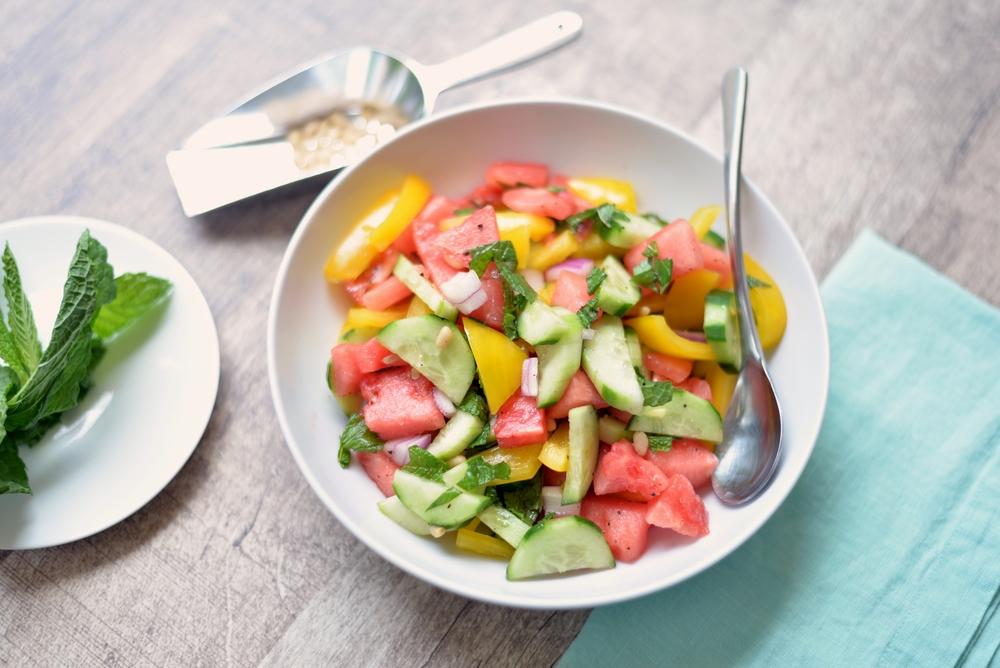 Minted Cucumber & Watermelon Salad