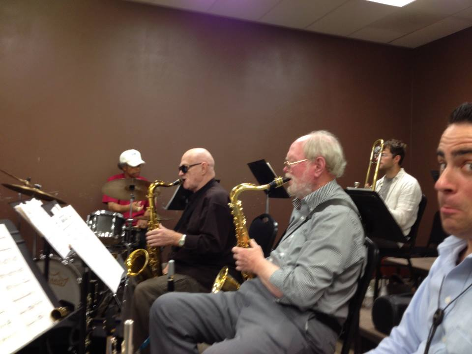 Rehearsing with Mel Lee, Don Menza, and Gary Foster.  Jeremy Lappitt and I are a little bewildered.