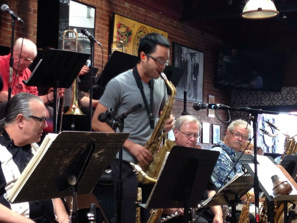 Steve Huffsteter Big Band at the world famous Lighthouse Cafe.  Also in the section showne here is Doug Webb, Phil Feather, and Pete Christlieb.  Off camera is Jerry Pinter - Hermosa Beach, CA August 2015