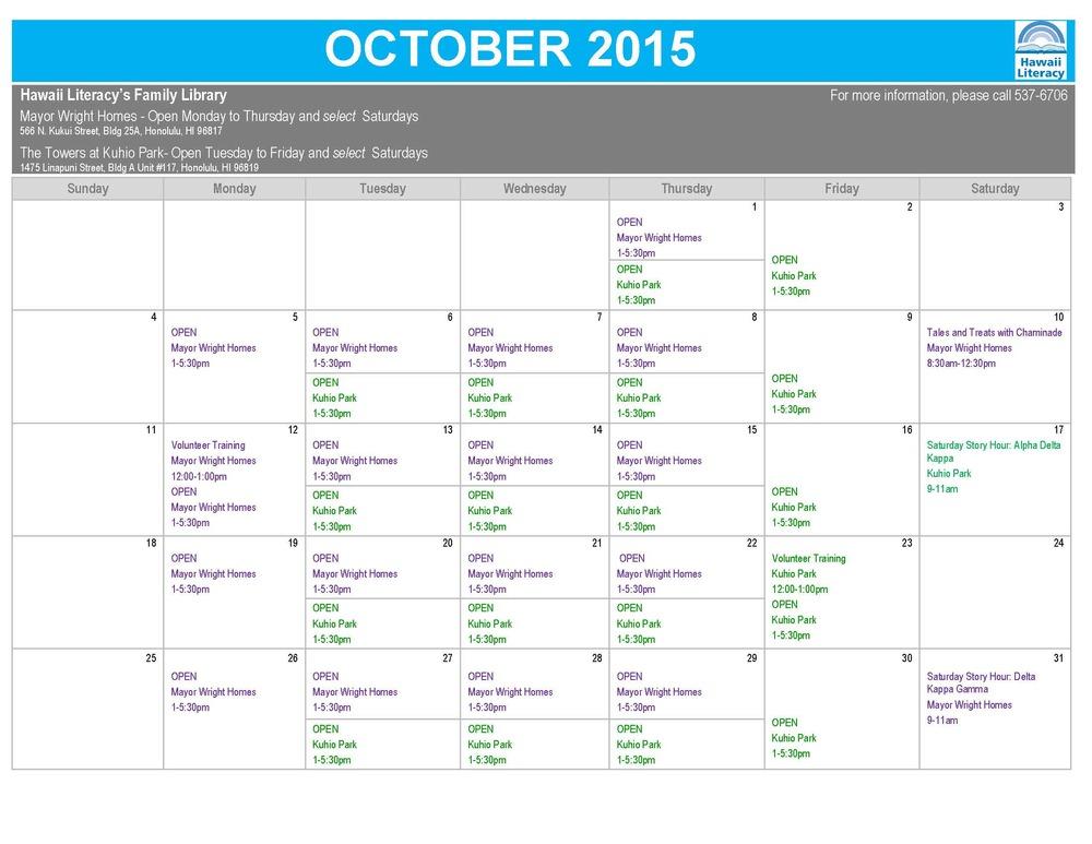 FL-2015 October Calendar