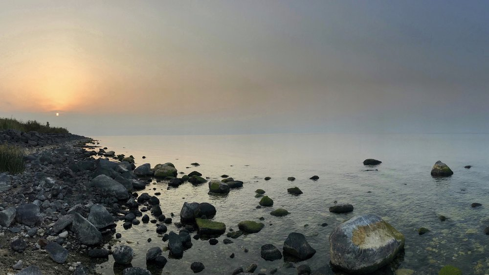 Dawn on the north shore of the Sea of Galilee