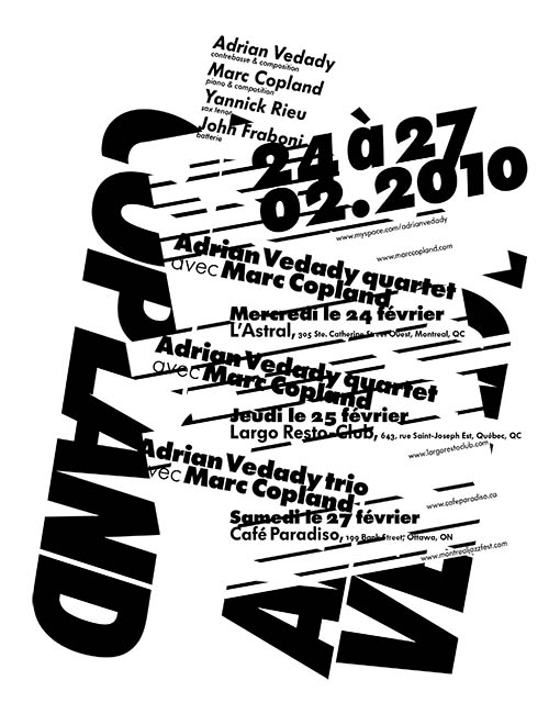 Concert poster for the jazz musicians Marc Copland and Adrian Vedaddy.
