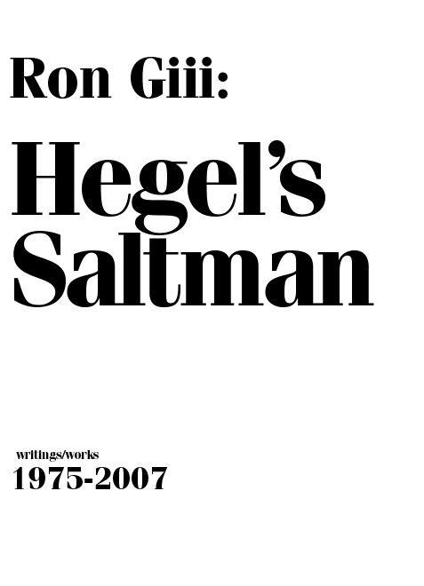 Cover of  Hegel's Saltman , exhibition catalogue. Designed with Jason Logan.