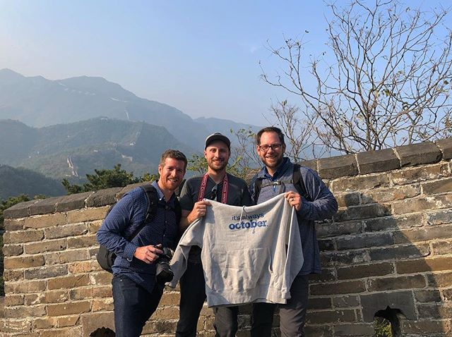 October Crew hiking the Great Wall of China near the mountain town of Mutianyu... . . . . . . . . . .  #itsalwaysoctober  #nofilter #shotoniphone #team  #producer #dp #worktravel #worktrip #havefun  #production #october #octoberworldwide #hoodie #swag  #championreverseweave #china #greatwall #hike #madeittothetop  #amazing #onceinalifetime