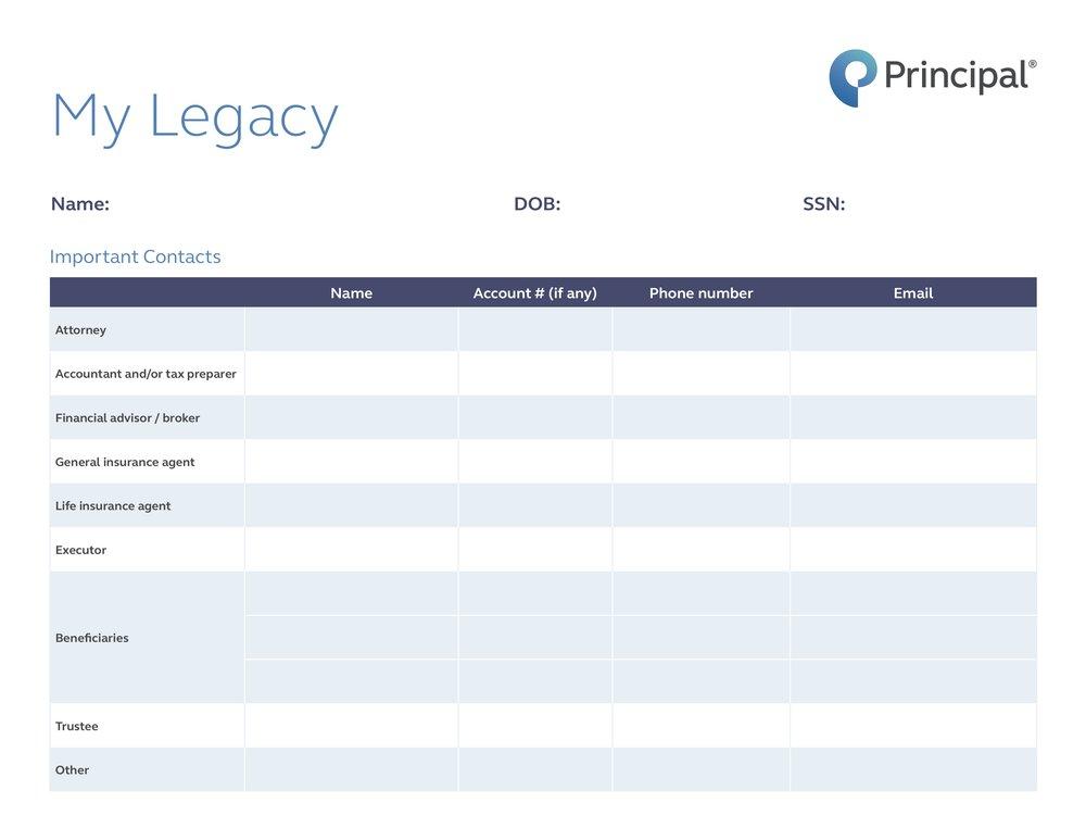 """Download """"My Legacy"""" worksheet"""