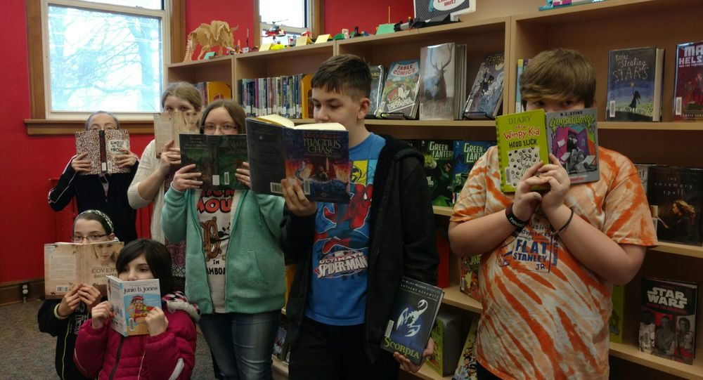 Members of the monthly Middle School Book Club at the Ottumwa, Iowa Public Library