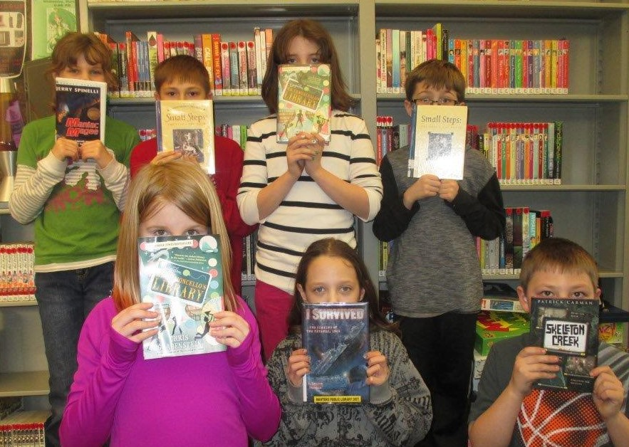 Front Row: Addy, Kaitlyn, Brad. Back row: Brianna, Jacob, Izzy, Bohden. Readers from the Coal City Public Library.