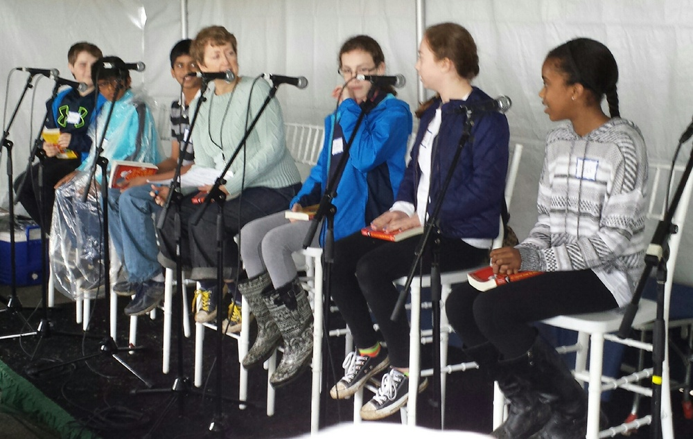 Live from the Gaithersburg Book Festival: (l-r) William, Tejas, Anish, Kitty Felde, Emma, Natalie, Lexie (photo by Tonya Wright)