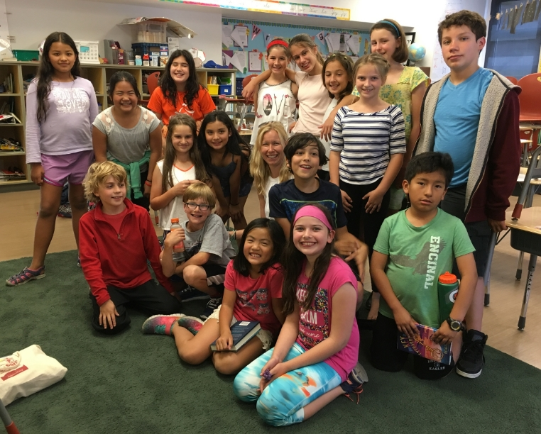 Members of the 4th & 5th grade members of the Bookopolis Book Club in Northern California
