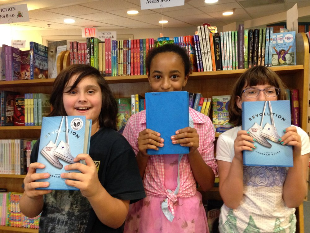 Serena, Noor, and Leah from George Washington Middle School, meeting at Alexandria, Virginia's favorite bookstore Hooray for Books!