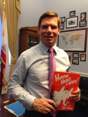 Celebrity reader, Congressman Eric Swalwell of California. He's the ranking member on the House Subcommittee on the CIA.