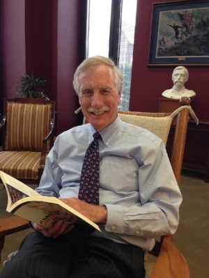 Celebrity reader, U.S. Senator Angus King, the former governor of Maine.