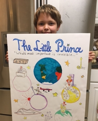 North Carolina reader Solomon loved the book so much, he made a poster for it - picture courtesy of Melanie Seanard