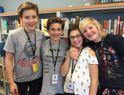 Elanor, Anna, Helen, and Charlotte from Percy Julian Middle School in Oak Park, Illinois