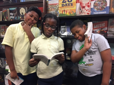 : Raynika, Christopher, and Stone from Tyler Elementary School in Washington, DC