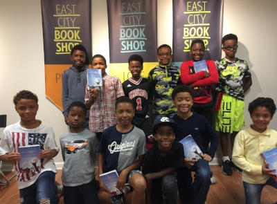 The Champion Boys Book Club of Washinton DC: back row: Nelson, Joshua, Emmanuel, Akili, Langston, Mehki; front row: Justice, Carter, Chase, Caleb, Damian, Zane