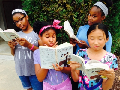 Amandla,  Imani, Angela, and Eunhea, readers from Robert Goddard Montessori School, Grace Christian School, Fairhaven School, and St. Anne's School – all in Maryland.