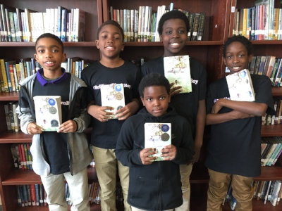 Members of the boys book club at DC's Truesdell Education Campus (l-r) Rock, Ben, Joshua, Devon, and David