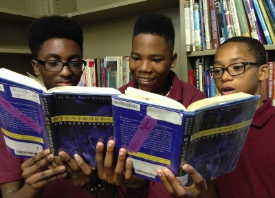 Malique, Tarahn, and Nicco from Jefferson Academy in Washington, DC