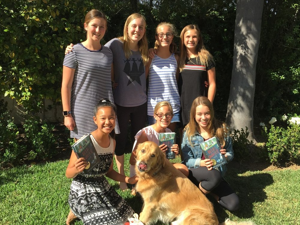 Millie, Maddie, Caroline, Ragan, Sarah, Lauren, Ella and Lucky the dog
