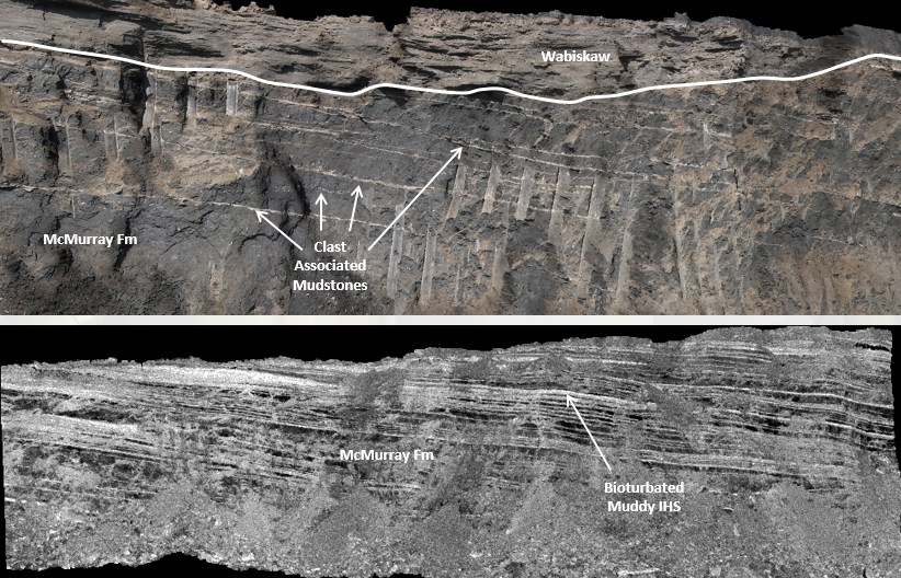 Figure 4 from Findlay et al. 2014, annotated lidar images of the McMurray Formation taken at the Mildred Lake mine face