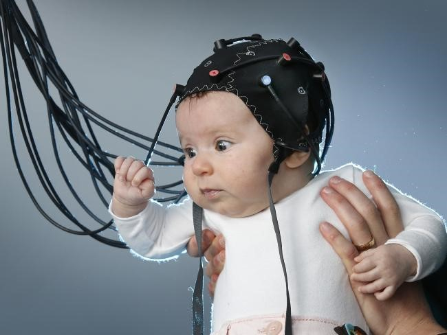 Investigating language development in babies. Image Source:  Hearing Health Matters