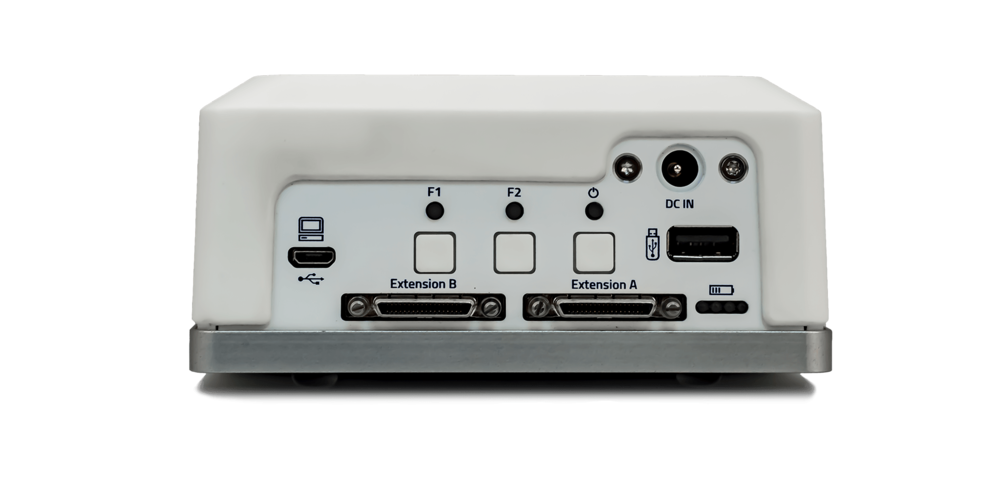 The back of NIRSport 2 with cascading ports (extension A and B) to link multiple NIRSport amplifiers together for extending source/detector number and channel count.