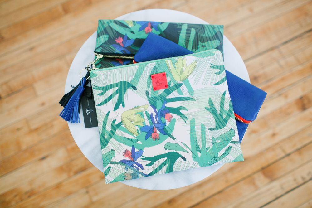 Palm Print Foldover Clutches with Tassels