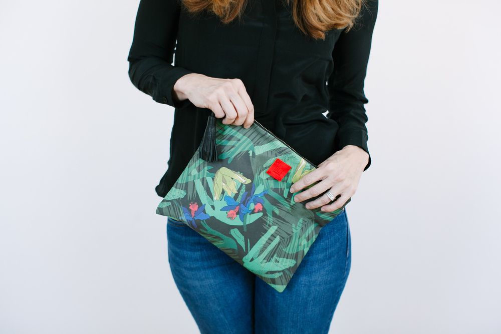 Palm Print Foldover Clutch in Black