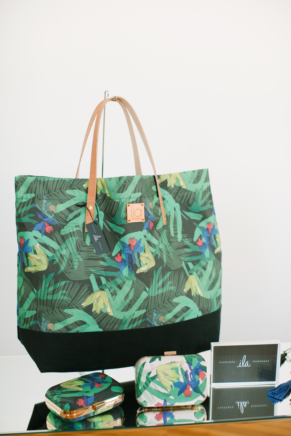 Palm Print Oversized Tote in Black ;  Palm Print Box Clutches  in Pale Pink + Black
