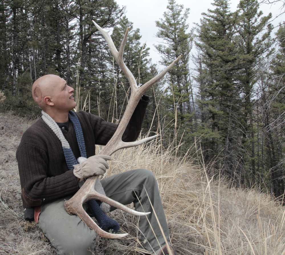 Eduardo hiking and shed hunting in Montana while going through Chemotherapy.